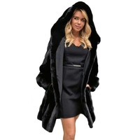 Winter Hooded Rabbit Faux Fur Women Shaggy Coat Jacket Long Sleeve Fake Fur Overcoat Plug Size Black Long Ladies Outwear