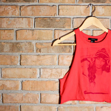 The Beyonce II- Bright Red Crop Tank Top. Size S