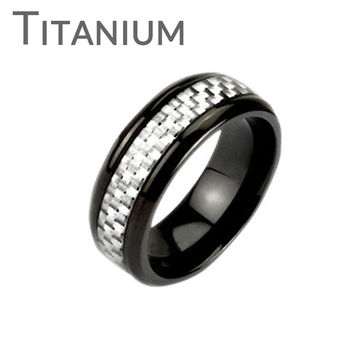 White Hot– Contemporary and classy black IP titanium men's ring with white carbon band inlay