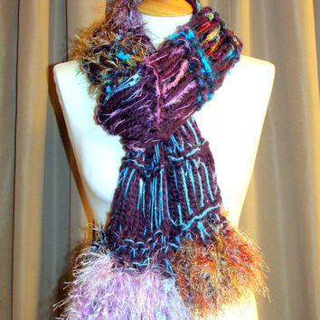 Hand knit scarf, hand tied yarn scarf, unique womens clothing, Womens Scarves, multi color scarf, womens gifts, photo prop, gypsy boho scarf
