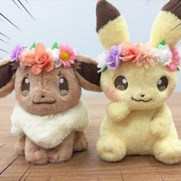 New Authentic Japan Pikachu&Eievui's Easter Eevee Stuffed Plush Doll Toy