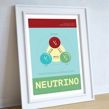 Neutrino Minimalist Art Print Science & Physics Illustration Giclee on Cotton Canvas and Paper Canvas Geekery Poster Wall Decor