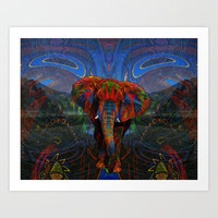 Elephant Art Print by Waelad Akadan