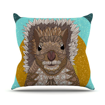 "Art Love Passion ""Squirrel"" Teal Brown Outdoor Throw Pillow"