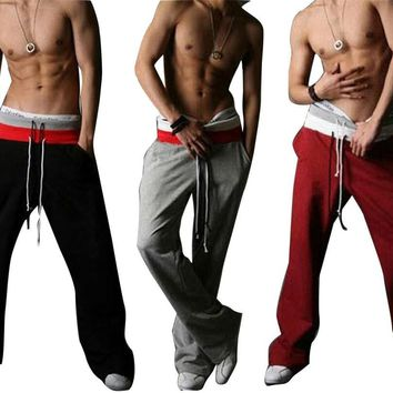 2017 Men's Casual Stylish Rope Long Sweat Baggy Pants Trousers Harem Slacks loose style