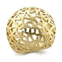 Paola's Matte Gold Cut Out Flower Design Dome Ring