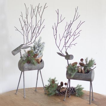 Metal Deer Planters - Rustic Grey (Set of 2)