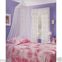 Girl's Sheer White Twin Bed Size Streamer Canopy With Applique Colored Flowers