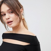 ASOS Going Out Slash Neck Bardot Long Sleeve Top at asos.com