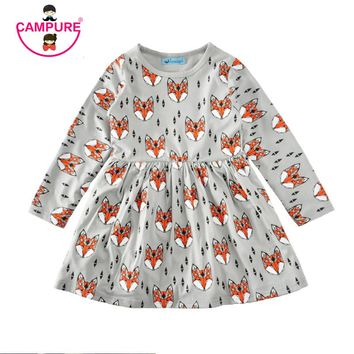 New 2017 Autumn Summer Girls dress 80-120 cm Fox Cartoon Toddler Baby Girl Dress Children Clothing Children Dress Kids Clothes