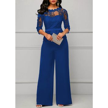 Jumpsuits for women 2018 Sexy High Waist Palazzo 3/4 Sleeve One Piece Lace Peplum Jumpsuit With Long Wide Leg Pant Three Quarter