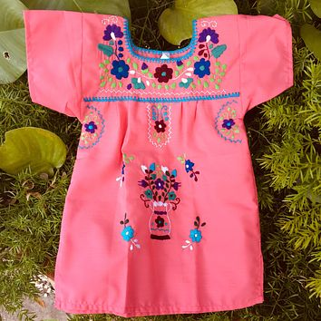 Mexican Dress for Girls Coral