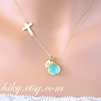 Sideways cross necklace with initial leafs and stone in bezel, aqua necklace, leaf necklace, horizontal cross necklace, gold cross