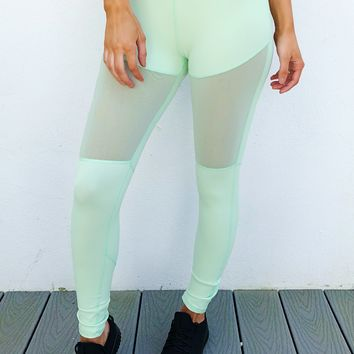 Push Yourself Pants: Pastel Mint/Black