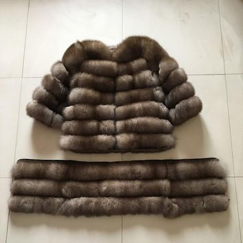 2018 100% natural fox fur high quitaly fox fur coat coat sleeve and hood  and coat down all can be remove
