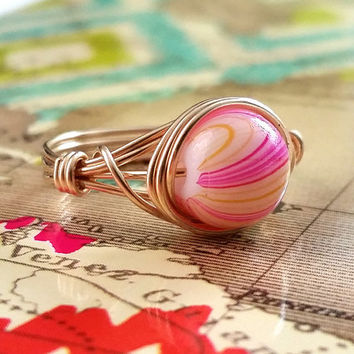 Wire Wrapped Ring, Pink and Yellow, 14kt Gold-Filled Jewelry, Gold Wire Ring