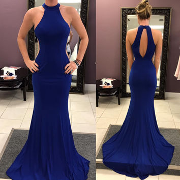 Halter High Neck Royal Blue Prom Dress,Mermaid Evening Dress,Sweep Train Party Dress