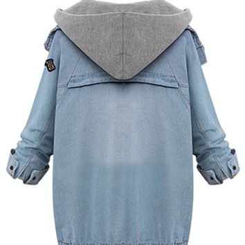 Blue Zipper Denim Coat with Detachable Hooded Waistcoat