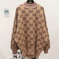 Gucci Fashion Casual Print Long Sleeve Pullover Medium length Sweater Apricot G