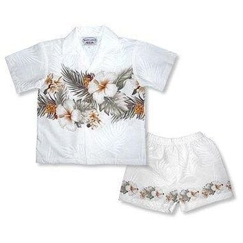 hibiscus white hawaiian boy border cabana set