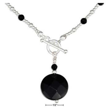 """Sterling Silver 16"""" Round Faceted Onyx Necklace With Onyx And Silver Beads"""