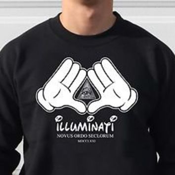 ILLUMINATI JAY Z MICKEY HANDS CREW NECK SWEATER SIZES M-2XL SECRET SOCIETY
