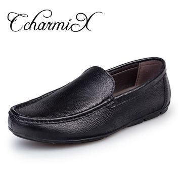 CcharmiX Big Size 38-47 Mens Italian Leather Shoes Slip On Luxury Brand Male Loafers Genuine Leather Father Casual Moccasins