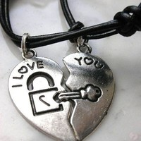 I Love You Key and Lock Couples' Necklace by StarBurstJewels