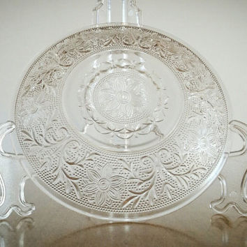 Anchor Hocking Sandwich Glass Plate, Pressed Sandwich Glass Hocking Plate