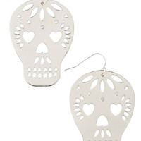 Skulls Too Close to Skull Earrings in Silver by ModCloth
