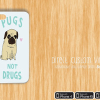 Iphone 4 - Iphone 4s - Iphone 5 - White - Pugs Not Drugs - Puppies- Dogs - Cute - Protective Case - Hard Case - 15% Off Until 2/25