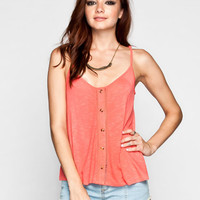 Eyeshadow Embroidered Back Womens Tank Orange  In Sizes