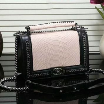 """CHANEL"" Trending Women Stylish Shopping Bag Leather Metal Chain Handbag Shoulder Bag Crossbody Satchel Nude I-LLBPFSH"