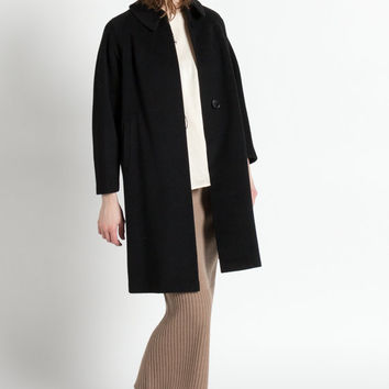 Vintage 50s Neusteters Black Cashmere Swing Coat with Wide Collar | M