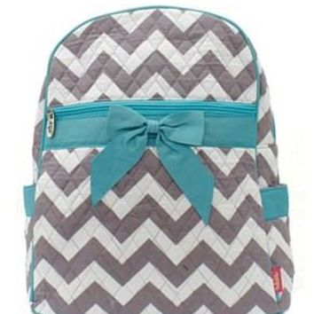 Chevron Print Quilted Backpack - 2 Color Choices