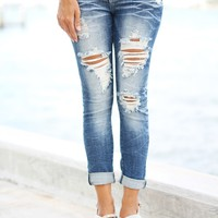 Super Destroyed Capri Jeans