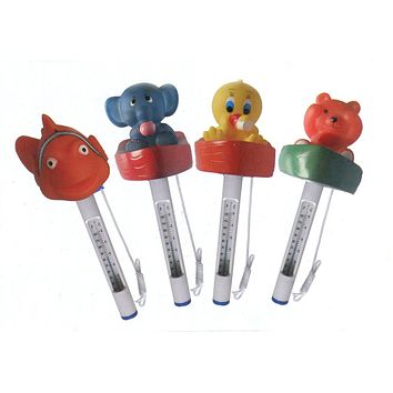 Set of 4 Floating Animal Swimming Pool Thermometers with Cords