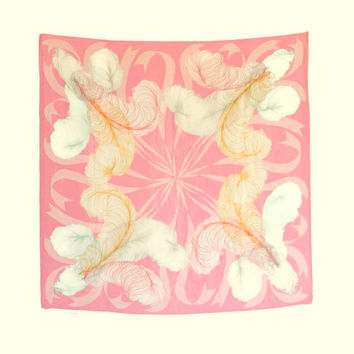 Vintage silk scarf by Vera. 1970s square scarf made in Japan. Pink white kerchief. Feather print. Babushka. Mothers day gift. Pastel colors