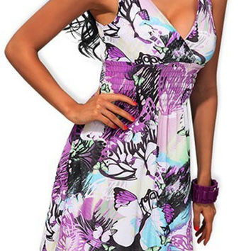 Purple Butterfly Print V-Neck Midi Dress with Lace Detail