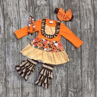 baby girls outfits kids wear Fall/winter clothing children Halloween floral outfits girls stripes ruffle pant with accessories