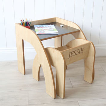 Desk And Chair With Chalkboard