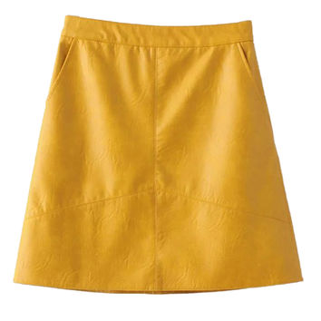 Yellow High Waist Leather Look A-line Skirt