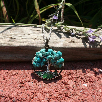 Turquoise Tree Of Life Necklace Aventurine Roots Pendant On Silver Chain Wire Wrapped Wedding Jewelry December Birthstone Jewelry