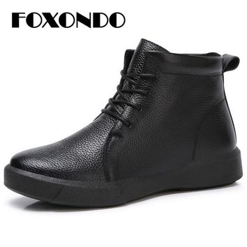 FOXONDO 2018 Winter autumn women ankle boots leather mid-calf booties women high waterproof rubber snow boots footwear 8198