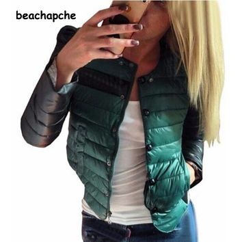 2015 newest fashion women coat patchwork slim plaid Triple Breasted full sleeve spring summe winter casual jacket