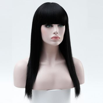 Long Heat Resistant Synthetic Wig with Bangs