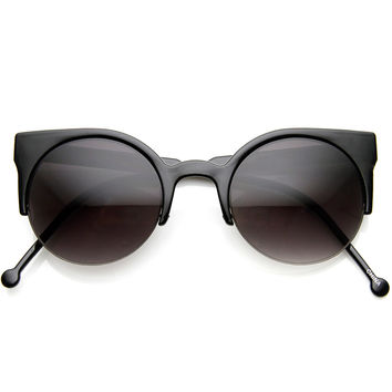 Women's Designer Round Indie Half Frame Cat Eye Sunglasses 8920