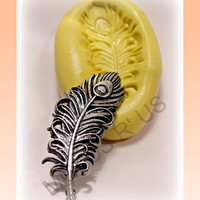 large peacock feather silicone push mold / craft/ by moldsrus