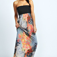 Elisa Bandeau Contrast Top Printed Maxi Dress