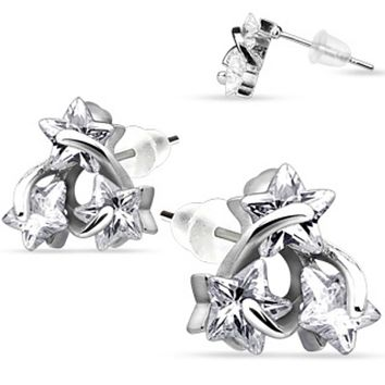 Pair of .925 Sterling Silver Three Wired CZ Star Stud Ear WildKlass Rings (Sold as a Pair)